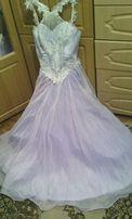 Платье длинное выпускное светло-сиреневое 46 размер, с подъюбником