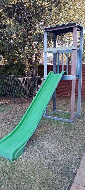 Jungle gym with water slide