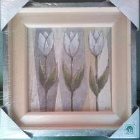 Reprodukcja - 3 Tulipany w drewnianej ramce / 18x18