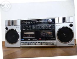 Ретро магнитола японская магнитофон SANYO M-W3LU и аудиокассеты