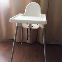 Высокий стульчик со столешницей для кормления, серебристо-белый