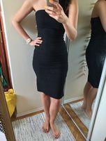 Czarna sukienka tuba w białe prążki r M