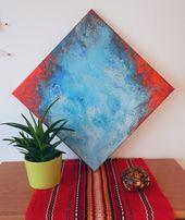 Abstrakcyjne nowoczesne obrazy do salonu ręcznie malowane pouring