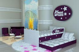 Łóżko piętrowe, podwójne dla dzieci i młodzieży, napis i gwiazdki