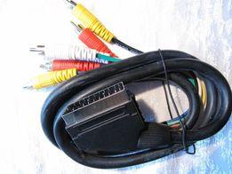 Видео кабель переходник SCART х 6 RCA (тюльпаны) 1,4 м ,новый