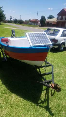 Bass boat with motor