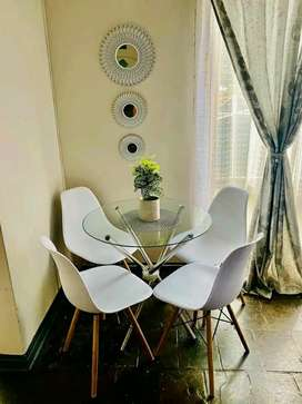 Glass table and 4chairs