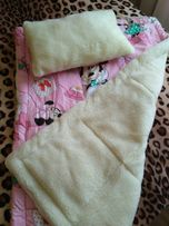 НОВЫЙ КОМПЛЕКТ: Детское одеяло+подушка на овчине