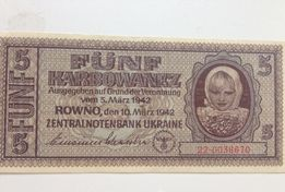 Banknot 5 Fünf Karbowanez Rowno Zentralnotenbank Ukraine 1942