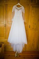 Piękna suknia ślubna Cosmobella 7776 rozmiar 38, welon+halka Gratis
