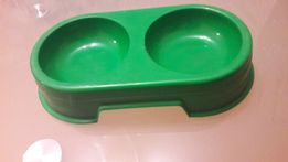 Miska dla Psa Kota podwójna 2x 300 ml kolor Zielony Firmy Sum Plast
