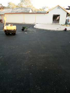 Tar surfaces and paving installation