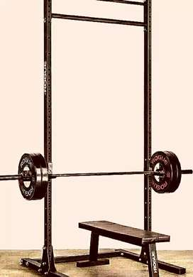 Heavy-duty squat rack and pull up bar frames WITH FREE FITNESS BENCH