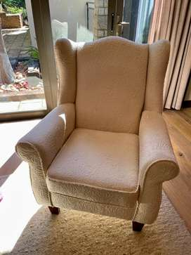 White Wingback chair.