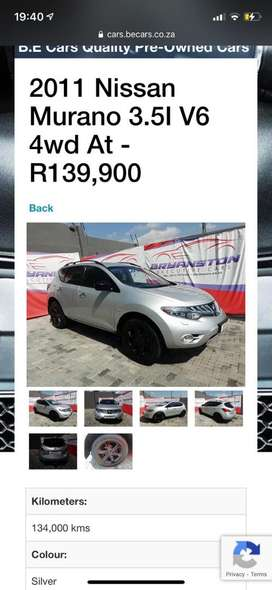 2011 Nissan Murano 3.5I V6 4wd At - R139,900