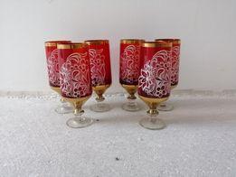 Kieliszki szampanowki 6szt, czerwone, PRL, wys.15cm.