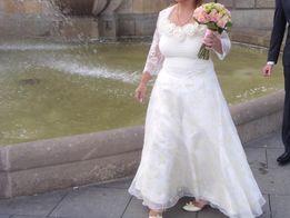 Ślubna suknia ekry z bolerkiem-gratis musznik dla Pana