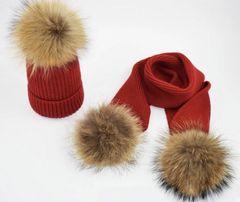 Czapki dziecięce zimowe kolor czerwony