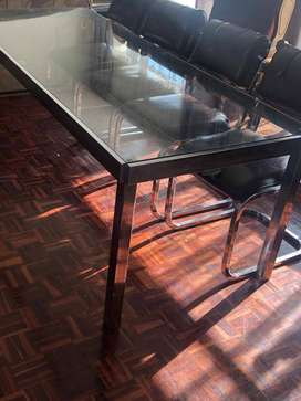 8 to 10 seater Milo Bauchman style Chrome and glass dining table