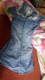 Tunika z koronką jeans