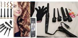 New! DODO Professional LED 5-IN-1 Curling Iron Wand Set w/Temp Control