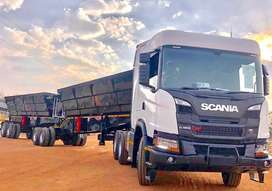 34 TON SIDE TIPPER TRUCK WITH TRAILER FOR HIRE