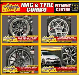 Mag and tyre combo s brand new including fitting balancing valves etc,