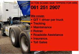 34 TONE SIDE TIPPING TRUCKS READY FOR HIRE TO WORK IN ANY PROVINCE