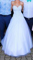 Efektowna suknia ślubna z szykownym gorsetem (plus gratisy)