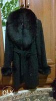 Черное ПАЛЬТО на зиму с меховым воротником!