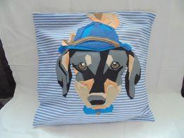Декоративный чехол на подушку,наволочка собака фетр