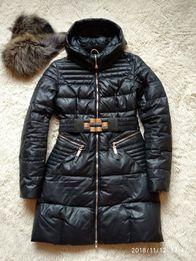Женский пуховик зимний натуральный мех