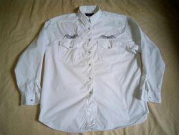 Рубашка (блуза) белая, под джинсовую женская, размер L, б/у ,в идеале!
