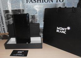 Duży oryginalny czarny PORTFEL MĘSKI Mont Blanc, skóra, Niemcy 23-004