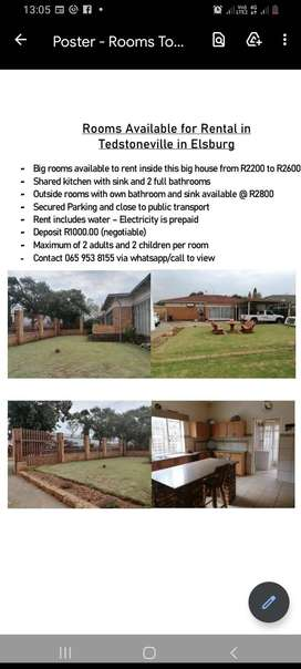Big room available for rental inside the  house for R2500