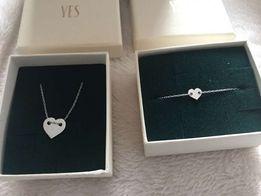 Biżuteria zestaw yes nowa srebrna serce apart bransoletka łańcuszek