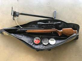 Webly PcP Air Rifle (wooden)  With scope and compressor