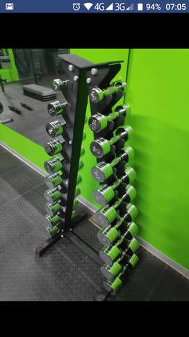excellent quilty Chrome dumbbell set + rack from 1-10kg