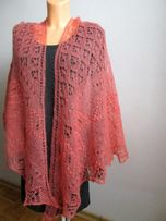 Moherowa chusta na drutach w kolorze łososiowym