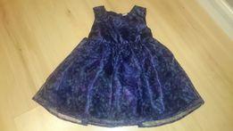 Granatowa sukienka w motylki wizytowa świąteczna 74 80 elegancka