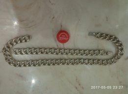 Срібний об'ємний чоловічий ланцюг з браслетом