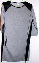 NOWA szara sukienka VUBU skórzana ze skórzanymi wstawkami skóra czarna