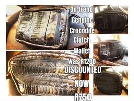 Stylish, On-Trend Mens Chocolate Genuine Crocodile Leather Clutch