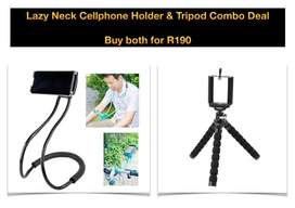 Lazy neck cellphone holder plus tripod wow what a deal for sale