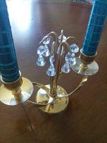 świecznik mosiężny pozłacany z kryształkami glamour