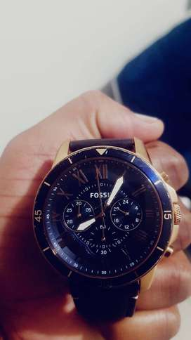 Fossil Men's Navy Leather Strap 44mm FS4 CHRONOGRAPH WATCH