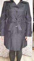 Płaszcz czarny wiosenno-jesienny na podszewce rozmiar XL