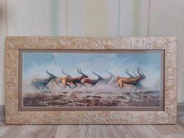 Картина вышивка крестиком Бегущие антилопы
