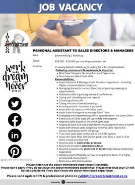 Personal Assistant to Sales Directors & Managers - Johannesburg | Boks
