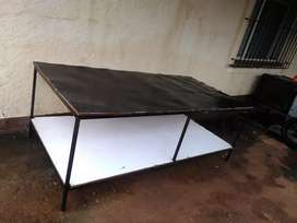 Wood and steel work bench